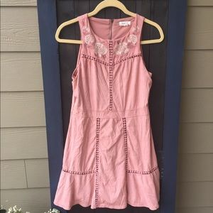 Taylor and Sage faux pink suede dress size L.
